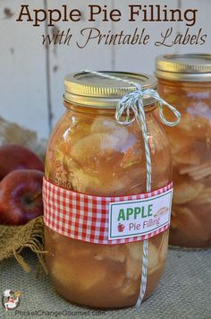 Canned Apple Pie Filling Recipe and Instructions + Free Printable Jar Labels on PocketChangeGourmet.com