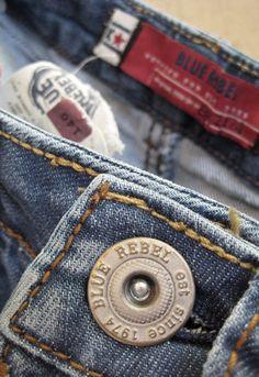 Denim Packaging Blue Rebel by , via Behance Jeans Button, Red Button, Denim Jeans, Work Jackets, Textiles, Identity Design, Denim Fashion, Rebel, Decorative Boxes