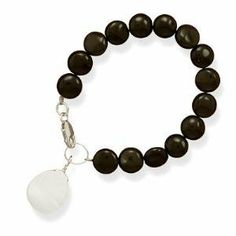 Black Onyx Coin Bead Bracelet with Shell Charm Sterling Silver 7 inch - Made in the USA AzureBella Jewelry. $26.53. .925 sterling silver. Shell charm. Genuine black onyx. Jewelry gift box included
