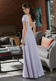 Boho Chiffon Bridesmaid Dress with Delicate Flutter Sleeves | Style 21591 | Morilee