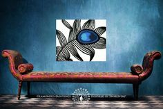 """Wall decor """"My pride"""" peacock wall art on canvas 20x24 abstract painting - peacock blue decor by Lydia Gee"""