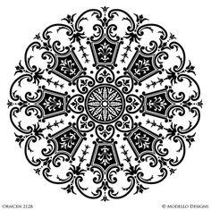 Designer Stencils with Painted Ceiling Decor - Custom Stencils with Mandala Medallion Shapes Stencil Painting On Walls, Stencil Art, Stencil Designs, Custom Stencils, Custom Vinyl, Blue Pottery, Wood Creations, Ceiling Decor, Border Design