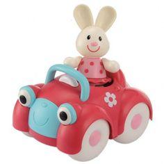Toy box rabb car. Una bonita conejita en su divertido coche. Para peques a partir de los 12 meses.