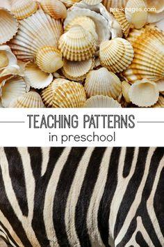 Math for pre-k and kindergarten. Ideas and activities for teaching pattern skills in your childcare, preschool, pre-k or kindergarten classroom.