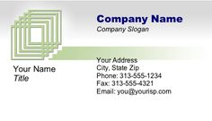 A classic business card with nested boxes in subtle gray-green and blue tones. Free to download and print