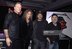 James Hetfield, Kirk Hammett, Lars Ulrich and Robert Trujillo of Metallica attend the signing of their new album 'Handwired to Self Distruct' at HMV Oxford Street on November 17, 2016 in London, United Kingdom.