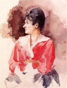 Mary Cassatt- Profile of an Italian Woman- watercolor Mary Cassatt- A Womans View | Paint Watercolor Create http://paintwatercolorcreate.blogspot.com/2013/05/mary-cassatt-1844-1926-american.html