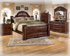 Gabriela Traditional Dark Brown Wood Master Bedroom Set