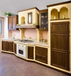 Cucina in finta muratura su misura realizzata in linea artigianale ...