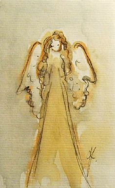 Angel Painting on Paper Original Painting by KristinaValicArt