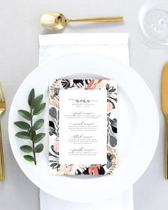 Floral Wedding Menu Printable Blush Wedding Menu Printed