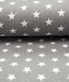 Stoffe uni - Popeline grau weiß kleine Sterne 0,5m - ein Designerstück von immertreu-stoffe bei DaWanda