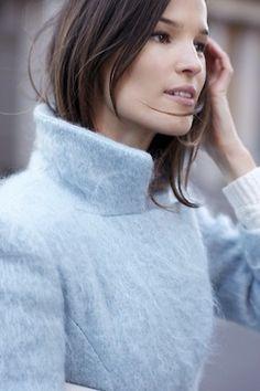 Hanneli Mustaparta in soft powder blue Bleu Pastel, Coat Of Many Colors, Blue Coats, Blue Wool, Victoria Secrets, Blue Fashion, Pastel Fashion, Dali, Baby Blue