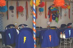Cute party idea for a boy. Love the capes.  Super Grover!