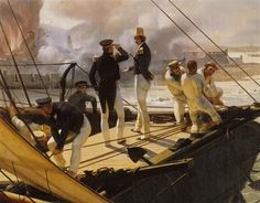 """Pour """"La Salamandre"""" d'Eugène Sue. Le prince de Joinville en pantalon de marin. Horace Vernet, Episode de l'expedition du Mexique en 1838, Versailles © rmn"""