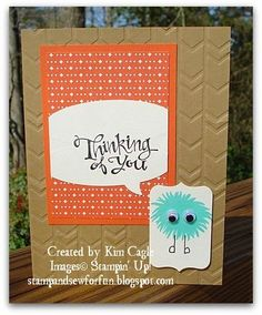 """Stampin' Up! .... handmade card from Stamp and Sew For Fun ...  kraft base with arrows embossing folder texture ...sentiment on thought balloon that is cut off at the sides of its panel ... little tag with fun little """"monster""""  made of stamped solid flower and googly eyes ... great card!!"""