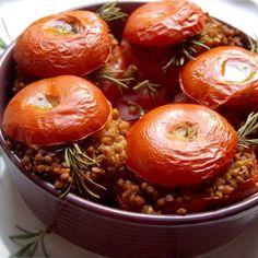 Découvrez une recette vegan : Sarrasin grillé (kasha) à la tomate et au romarin. Plat bio et végétalien. Sans œuf ni lait.