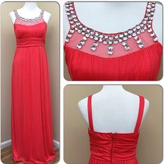 Crystal Doll Coral Halter Chiffon Prom Dress- New
