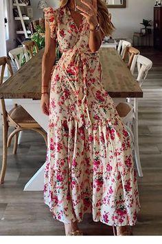 2021 Womens V Neck Floral Casual Maxi Dress Summer Sleeveless Boho Beach Long Sundress Loose Ladies Long Party Dress Maxi Wrap Dress, Maxi Dress With Sleeves, Boho Dress, Lace Dress, Bohemian Summer Dresses, Dress Beach, Dress Red, Look Girl, Beachwear For Women
