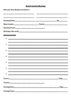 Relief Society Conducting Sheet