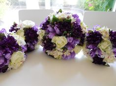 Purple and Ivory Combo Bridal Bouquet Set, 12 pieces package