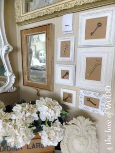Shabby Chic Wall Art, hiding or blending in the thermostat. Shabby Chic Wall Art, Shabby Chic Style, Boho Diy, Boho Decor, Diy Wall Art, Framed Wall Art, Vintage Keys, Vintage Wood, Antique Keys