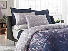 The Kenneth Cole REACTION Home Rain bedding ensemble brings a softly dramatic touch to your bedroom with this abstract printed duvet cover. #bedding #KCRH