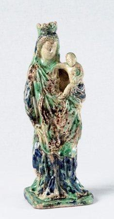 Grande vierge à l'enfant couronnée Terre blanche à glaçure polychrome:… – Fraysse