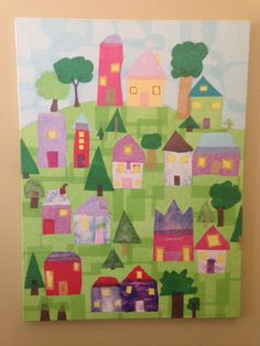 """""""Our Town"""" tissuepaper collage on canvas art auction project. Each student made a tree or house. Parents assembled onto canvas with using mod-podge."""