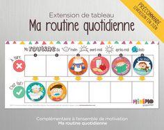 Extension de tableau Ma routine quotidienne Routine Enfant