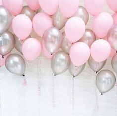 Pink & Silver Balloons, Great for Baby Shower party, birthday girl, Ballerina party, Princess party and all your girly parties and celebrations. Pink Birthday, 16th Birthday, Birthday Balloons, Birthday Balloon Surprise, Birthday Month, Birthday Greetings, Birthday Wishes, Birthday Parties, Birthday Ideas
