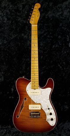 NOS-HT #3234 Swamp Ash/Flame Maple, Vintage Tobacco Burst, Grosh G90's, Thinline F hole. - groshguitars