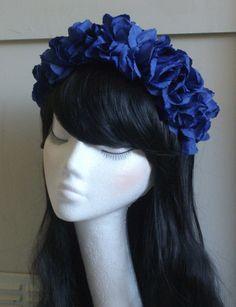 Blue Rose Flower Bloom Floral Garland Crown Headband Hair Band 70's style VTG
