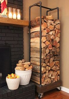 Make an Awesome Firewood Rack Using Plumbing Pipe - chopped wood as functional m. - Make an Awesome Firewood Rack Using Plumbing Pipe – chopped wood as functional modern rustic art - Home Projects, Furniture Projects, Wood Furniture, Garden Furniture, Furniture Plans, Furniture Storage, Plumbing Pipe Furniture, Industrial Furniture, Diy Indoor Furniture