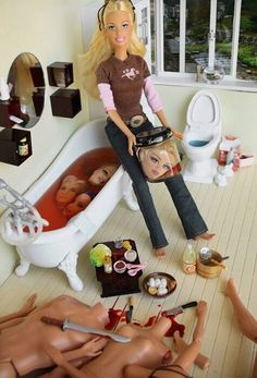 "This is how we all use to play Barbies... Why did they never come out with a ""Psycho Barbie:"" She kills Ken, Skipper, Black Barbie, and G.I. Joe!!"