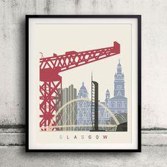Glasgow skyline poster Fine Art Print Landmarks skyline