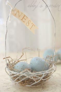 ♥Crafty Easter robin's egg wire basket.