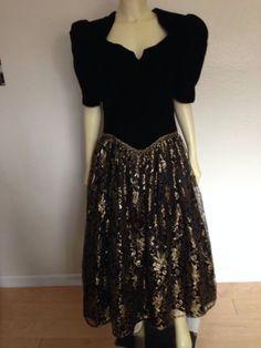 Vintage Scott McClintock Black Velvet Gold Lace Prom Dress 14 Holiday Formal