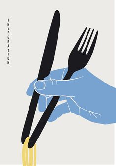 "Visual Rhetoric theory "" An image/word that can interpret one's view or perspective of a topical issue. Within this graphic, the integration of forks and knives used as chopsticks displays the concept..."