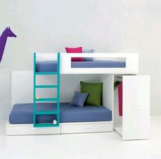 Bedspaces for shared room Bunk Beds Boys, Kid Beds, Bunk Beds With Storage, Bed Storage, Kids Room Design, Bed Design, Small Room Bedroom, Girls Bedroom, Bedrooms