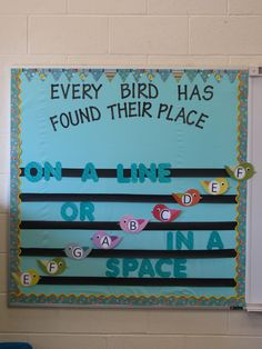 bulletin board - lines and spaces