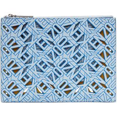 Kenzo Blue Leather Flying Tiger Kenzo Pouch (320 CAD) ❤ liked on Polyvore featuring bags, handbags, clutches, blue leather purse, leather clutches, real leather purses, leather purse and genuine leather handbags