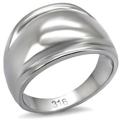 Stainless Steel Dome Style Simple Band Ring   Hope Chest Jewelry, $10.49