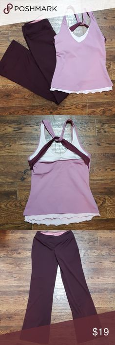"""Yoga Outfit Matching Pants and Shirt ✔Add all of your likes from my closet to a bundle and submit best offer for a deal!  Dual layer top with built in shelf bra. Top is an XS. Straps have cool criss cross design over back. Matching maroon colored pants with 31"""" inseam, size small. Ativa Tops"""