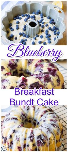 This easy blueberry breakfast bundt cake recipe tastes just like homemade blueberry muffins. Simple and easy breakfast idea for a crowd, Christmas morning or for brunch. recipes for a crowd brunch Breakfast Bundt Cake, Breakfast Dishes, Brunch Cake, Breakfast Crepes, Brunch Menu, Brunch Nyc, Brunch Drinks, Breakfast Plate, Brunch Buffet