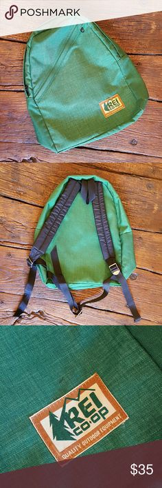 Vintage REI Co-Op Backpack Amazing bright green vintage REI backpack. In excellent condition with very clean inside. Has two very small black marks on the front (both shown in the pics) & a couple minir snags on the bottom (also shown in pics).  Comes from a smoke free home! I always ship same or next day :) REI Bags Backpacks