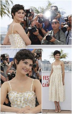 Audrey Tautou as mistress of ceremonies at Cannes Film Festival 2013, loving her low key daisy dress and nude coloured shoes