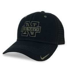 Navy Nike Mesh Hat in black is one of many great Navy hats available. Shop the entire collection and enjoy fast shipping and easy returns/exchanges. Navy Cap, Snap Backs, Coast Guard, Front Design, Us Navy, Marines, Air Force, Pride, Baseball Hats