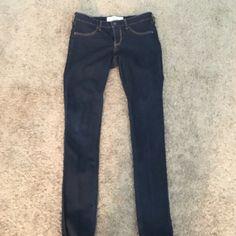 Dark denim skinny jeans Dark blue, Hollister skinny jeans. Worn twice. No fringing, rips or fraying. Hollister Jeans Skinny