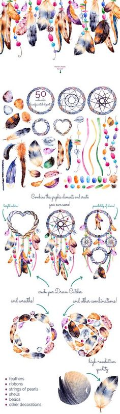 Feathers and dream catchers by Kate_Rina on Creative Market Dreams Catcher, Sun Catcher, Los Dreamcatchers, Diy And Crafts, Arts And Crafts, Birthday Greeting Cards, Filofax, Bunting, Wind Chimes